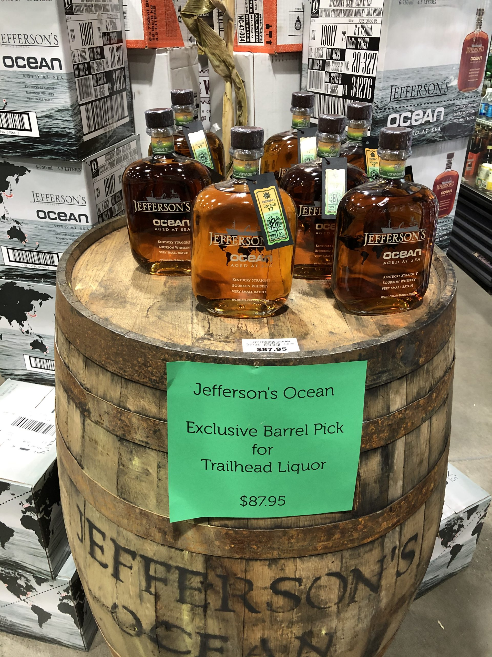 Our barrel of Jefferson's Ocean, specially selected by Trailhead Liquor.